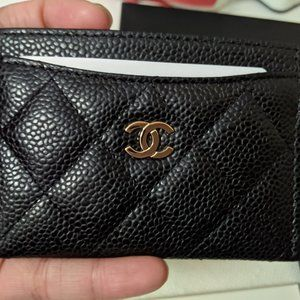♠️Chanel Quilted Caviar Leather Card Holder Black
